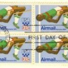 High Jumper 1980 Olympics 31 cent Stamp Block of 4 FDI SC C97 First Day Issue
