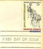 50th Anniversary Marine Corps Reserve 5 cent Stamp FDI SC 1315 First Day Issue