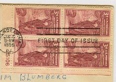 Anniversary Pennsylvania Academy Fine Arts 3 cent Block 4 Plate Number FDI SC 1064 First Day Issue