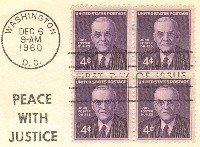 John Foster Dulles 4 cent Stamp Block of 4 FDI SC 1172 First Day Issue