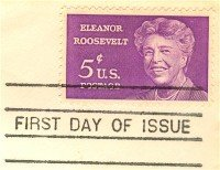 Eleanor Roosevelt 5 cent Stamp FDI SC 1236 First Day Issue