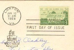 Gunston Hall 3 cent Stamp Home George Mason FDI SC 1108 First Day Issue