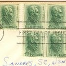 Andrew Jackson 1 cent Stamp Block of 4 FDI SC 1209 First Day Issue