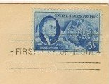 Roosevelt and Map Western Hemisphere 4 Freedoms 5 cent Stamp FDI SC 933 First Day of Issue
