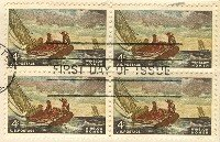 Winslow Homer 4 cent Stamp Block of 4 FDI SC 1207 First Day Issue