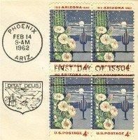 Arizona Stamp 4 cent block of 4 FDI SC 1192 First Day Issue