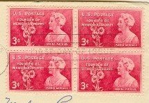 Moina Michael 3 cent Stamp Block of 4 Founder Memorial Poppy FDI SC 977 First Day Issue