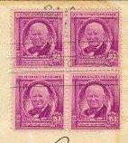 William Allen White 3 cent Stamp Block of 4 FDI SC 960 First Day Issue
