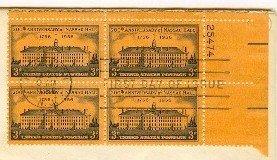 200th Anniversary Nassau Hall Princeton 3 cent Stamp Block 4 Plate Numb FDI SC 1083 First Day