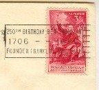 Benjamin Franklin 250th Birthday 3 cent Stamp FDI SC 1073 First Day Issue