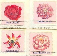 Flower Issue set of 4 different Stamps complete set FDI First Day Issue