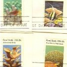 Coral Reefs Issue 4 different Stamps complete set FDI First Day Issue
