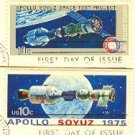 1975 Apollo Soyuz Space Issue 2 Stamps complete set FDI First Day Issue