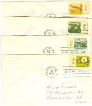 Botanical Congress Set of 4 Different 6 cent Stamps Douglas Fir Ocotillo FDI First Day Issue
