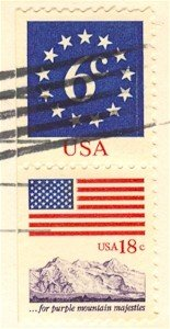 6 cent Circle of Stars 18 cent Purple Majesties Stamp Flag Anthem Issue FDI SC 1892 First Day Issue
