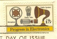 TV Camera Tube Microphone Speaker 15 cent Progress in Electronics Issue FDI SC 1502 First Day Issue