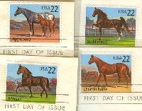 American Horses Issue Complete Set of 4 Stamps FDI First Day Issue