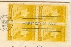 Gold Star Mothers 3 cent Stamp Block of 4 FDI SC 969 First Day Issue