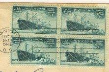Merchant Marine 3 cent Stamp block of 4 FDI SC 939 First Day Issue