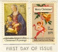 1975 Christmas Stamps set of 2 Madonna and Child Christmas Card FDI First Day Issue
