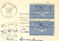 Naval Aviation 50th Anniversary 4 cent Stamp Vertical Pair FDI SC 1185 First Day Issue