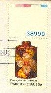 Pennsylvania Toleware Tea Caddy 15 cent stamp plate number American Folk Art Issue FDI SC 1776