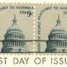 Capitol Dome 9 cent Stamp Horizontal Pair Americana Issue FDI SC 1591 First Day Issue