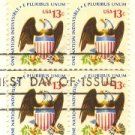 Eagle and Shield 13 cent Stamp Block of 4 Americana Issue FDI SC 1596 First Day Issue