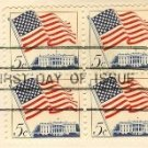 Flag Over the White House Stamp 5 cent FDI SC 1208 First Day Issue Block of 4 Flag Over Issue