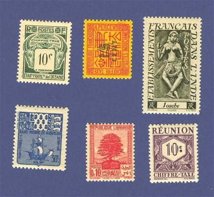 Colonies of France 6 Stamps