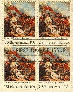 Battle of Bunker Hill 10 cent Stamp Block 4 Bicentennial Issue FDI SC 1564 First Day Issue