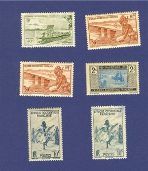French West Africa 6 stamps