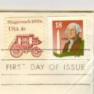 George Washington and Washington Monument Coil 18 cent Stamp FDI SC 2149 First Day Issue