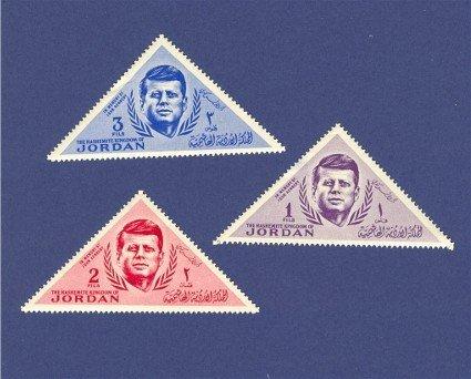 Trans Jordan 3 Stamps John F Kennedy