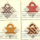 Quilts Complete Set 4 Stamps American Folk Art Issue FDI First Day Issue