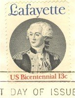 Marquis de Lafayette 13 cent Stamp American Bicentennial Issue FDI SC 1716 First Day Issue