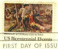 Herkimer at Oriskany Frederick Jahn 13 cent American Bicentennial Issue FDI SC 1722 First Day Issue