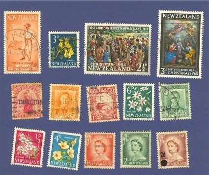 New Zealand 14 stamps