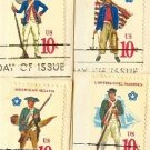 Military Uniforms Complete Set 4 American Bicentennial Issue FDI First Day Issue