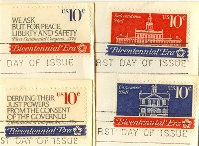 First Continental Congress Complete Set 4 Stamps American Bicentennial Issue FDI First Day Issue