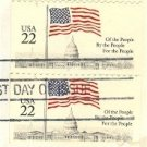 Flag Over the Capitol Building 22 cent Stamp Vertical Pair FDI SC 2U6 First Day Issue