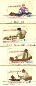 Skilled Hands for Independence Complete Set 4 stamps American Bicentennial Issue FDI First Day Issue