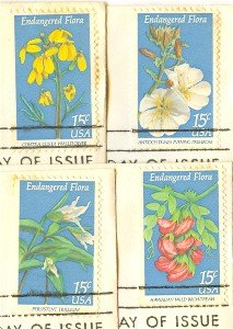 Endangered Flora Issue 15 cent Compete Set 4 Stamps FDI First Day Issue