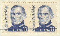 Alden Partridge 11 cent Stamp Vertical Pair Great Americans Issue FDI SC 1854 First Day Issue