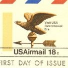 US Airmail Bicentennial Eagle Weathervane 18 cent FDI First Day Issue Postal Card SC UXC15