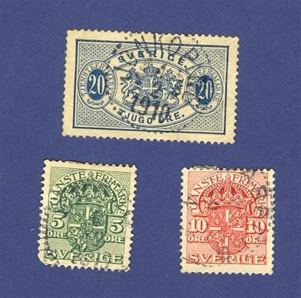 Sweden 3 Official Stamps from 1891 to 1912   Packet No 3682