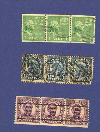 United States Stamps 3 Sets of Horizontal strip of 3  Packet No 33644
