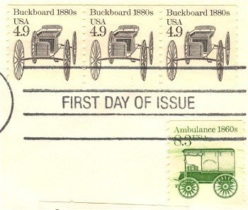 Buckboard Coil Stamp 4.9 cent FDI SC 2124 First Day Issue Strip of 3 Transportation Issue
