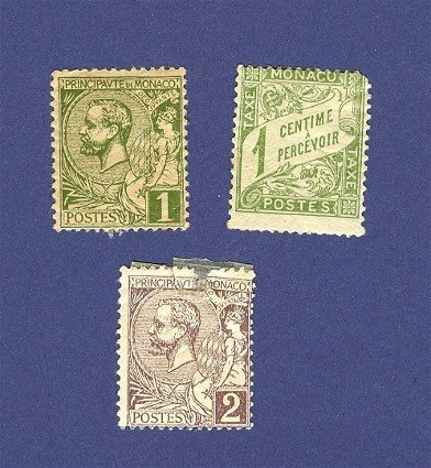 Monaco 3 Stamps from 1891 to 1922  Packet No 2589