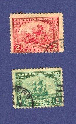 United States 1920 Pilgrim Tercentenary Issue 2 Stamps